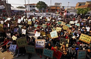 Protests in Wukan. Photo from Southern Window article.